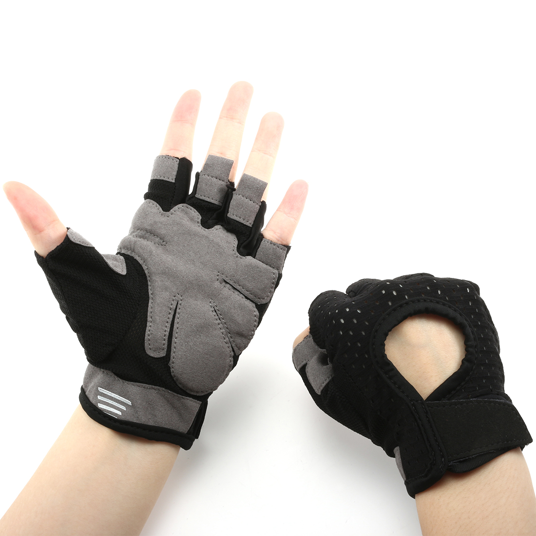 Summer Elasticized Fabric Anti-slip Sports Exercise Half Finger Cycling Gloves Black M Pair
