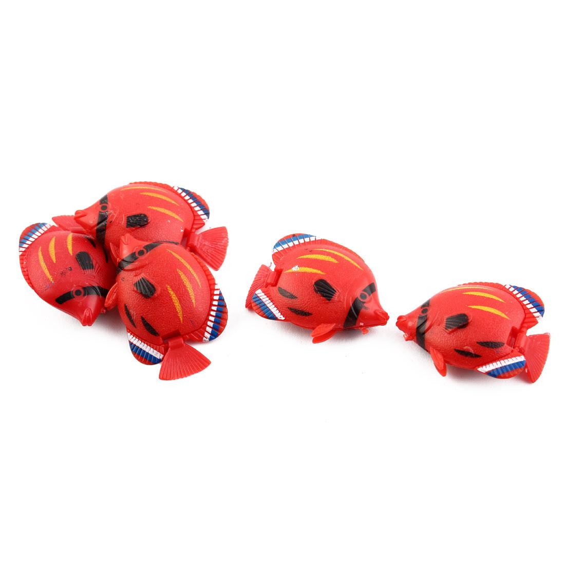 Aquarium Vividly Floating Mini Plastic Fish Wiggled Ornament Red 5pcs