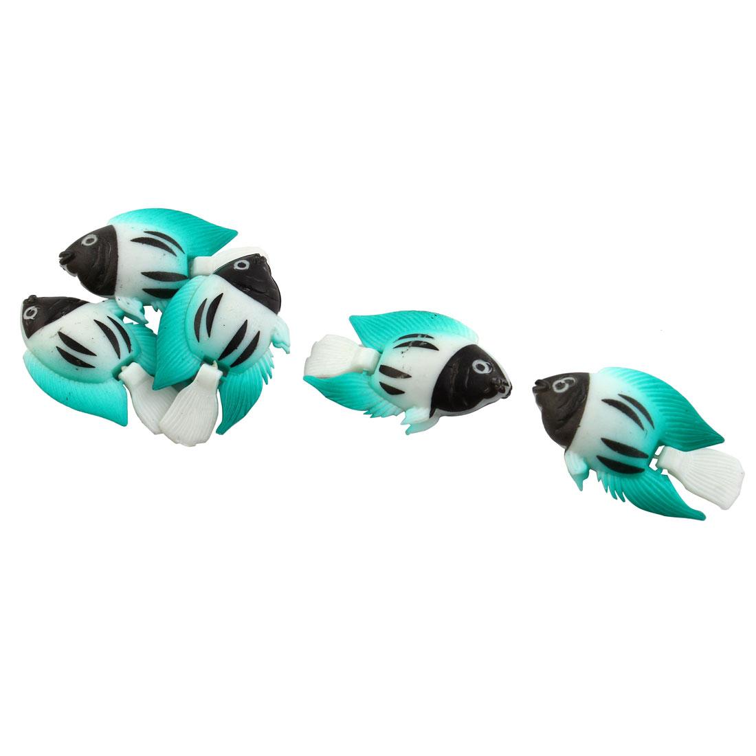 Aquarium Mini Swing Tail Plastic Fish Decorate Ornament Multi Color 5 Pcs