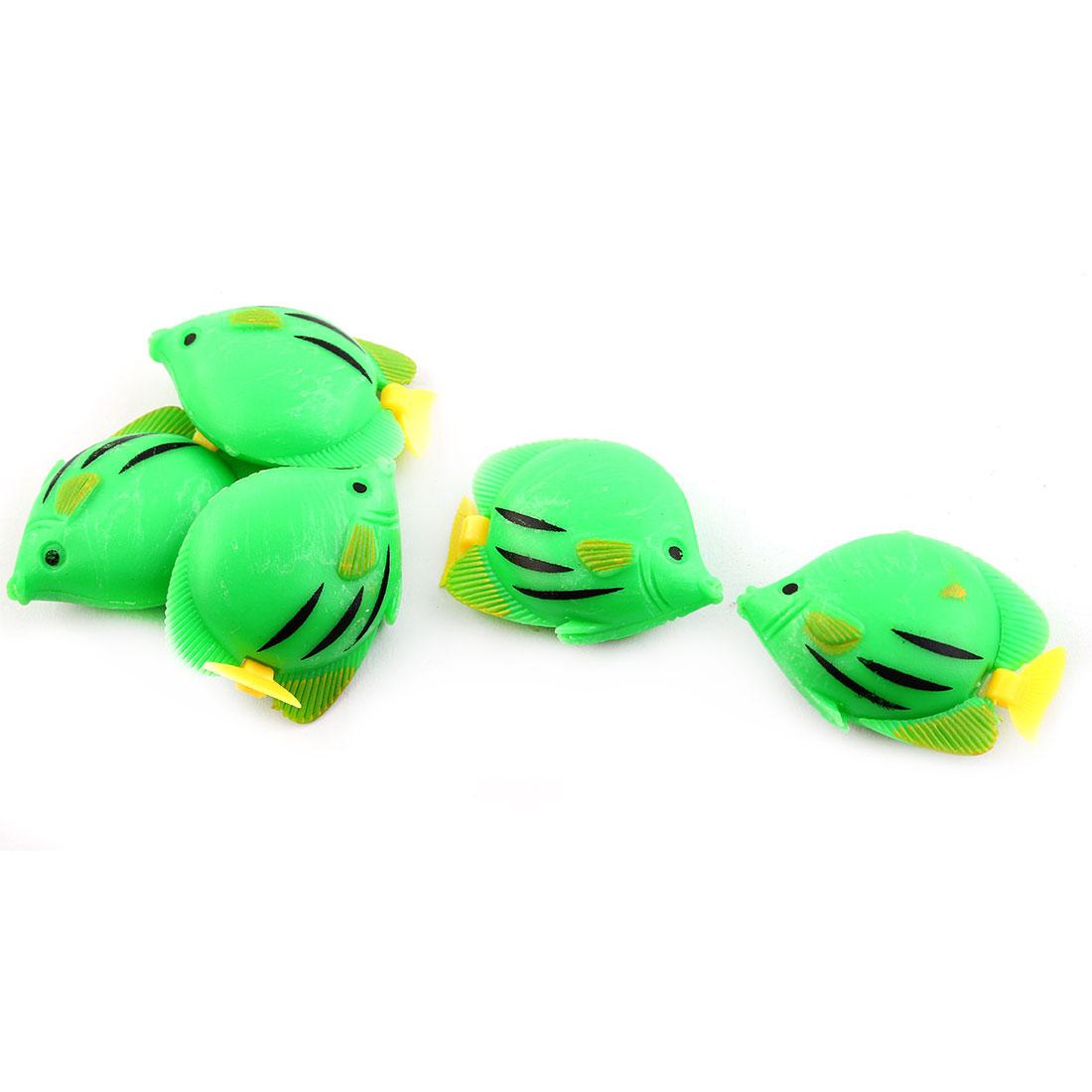 Aquarium Mini Plastic Manmade Swing Tail Floating Fish Ornament Green 5pcs