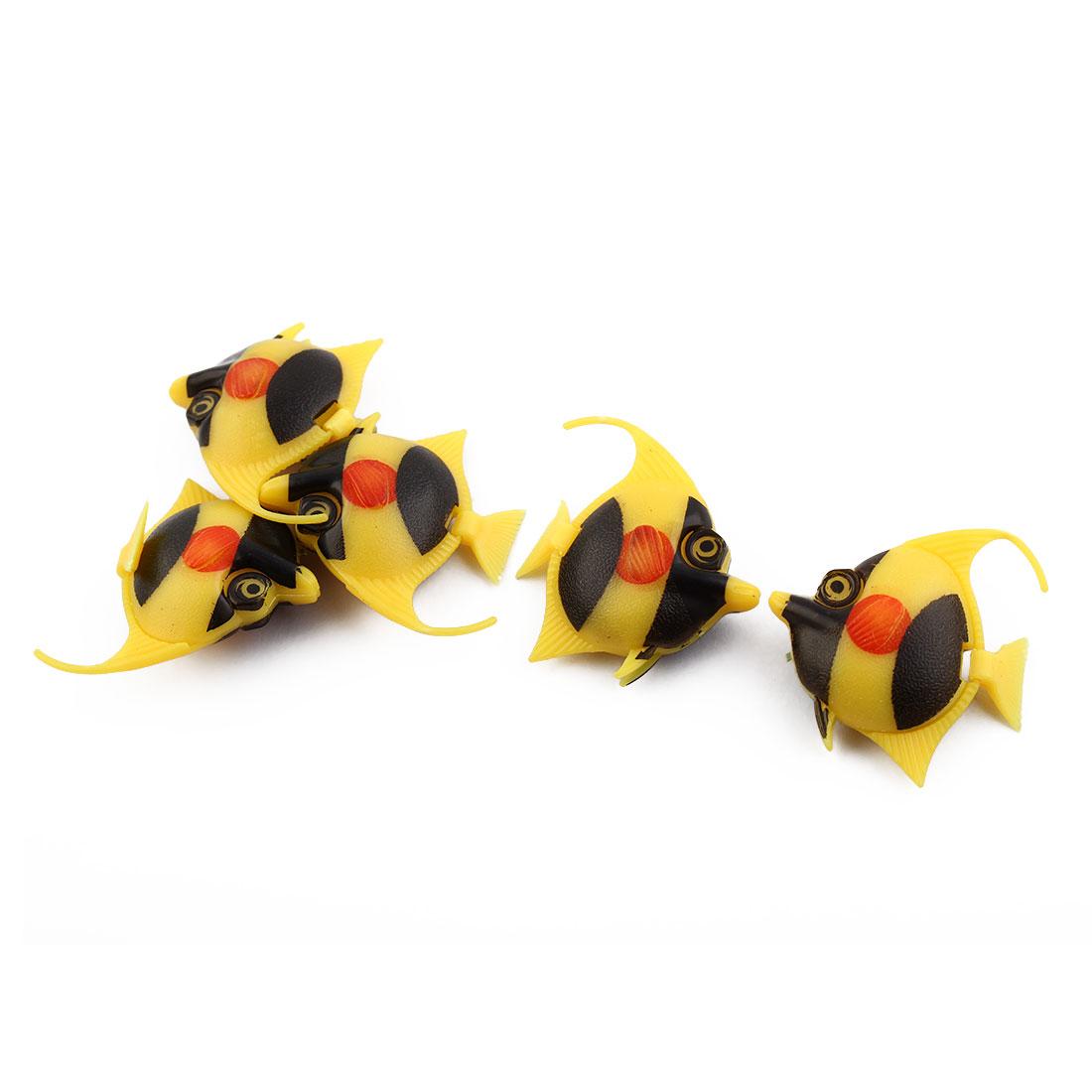Aquarium Plastic Wiggled Floating Mini Ocean Fish Decorate Yellow Black 5pcs