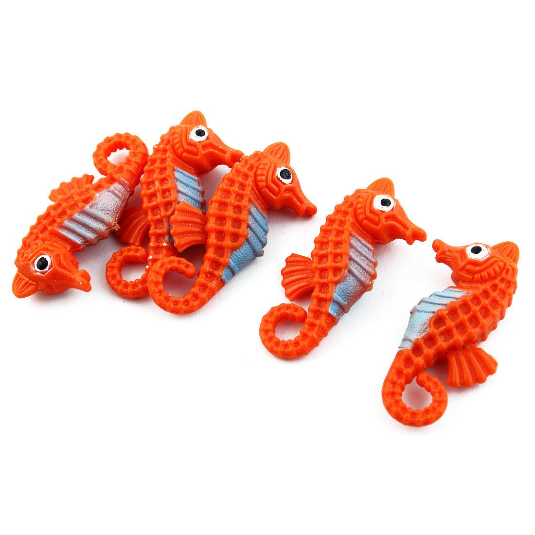 Aquarium Fish Tank Plastic Floating Hippocampi Decorate Ornament Orange 5pcs