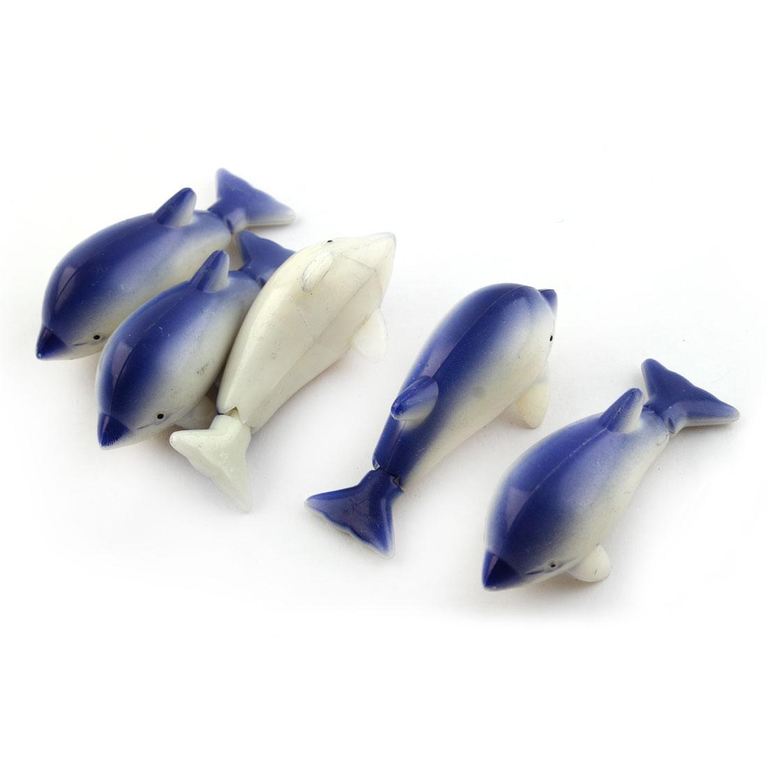 Aquarium Fish Tank Mini Plastic Floating Dolphin Decorate Ornament Blue 5 Pcs