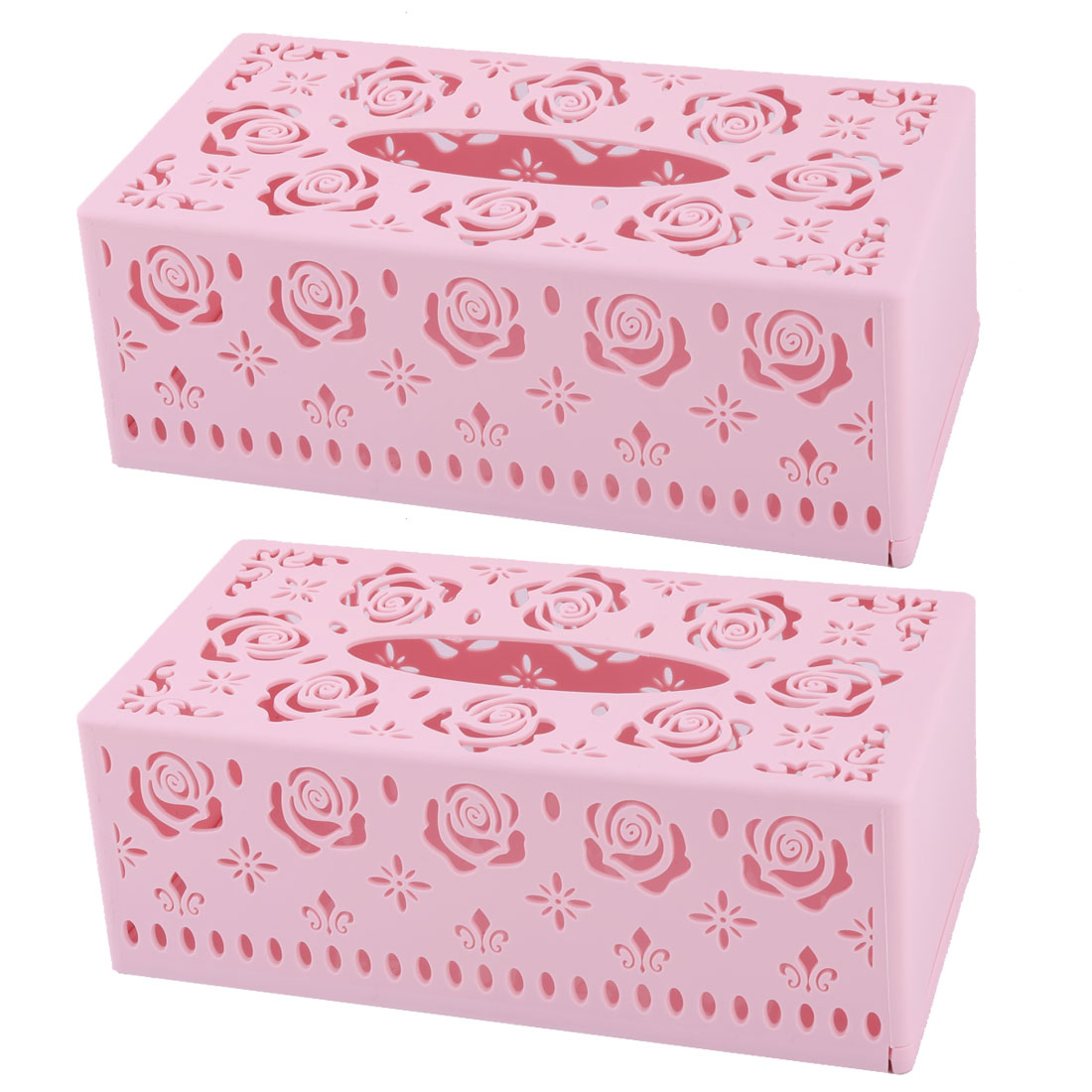 Home Plastic Rectangle Hollow Out Design Tissue Box Case Holder Organizer Light Pink 2pcs
