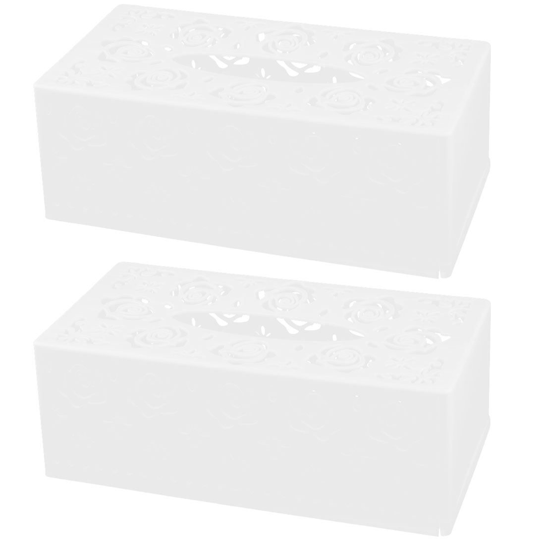 Home Plastic Rectangle Hollow Out Design Tissue Box Case Holder Organizer White 2pcs