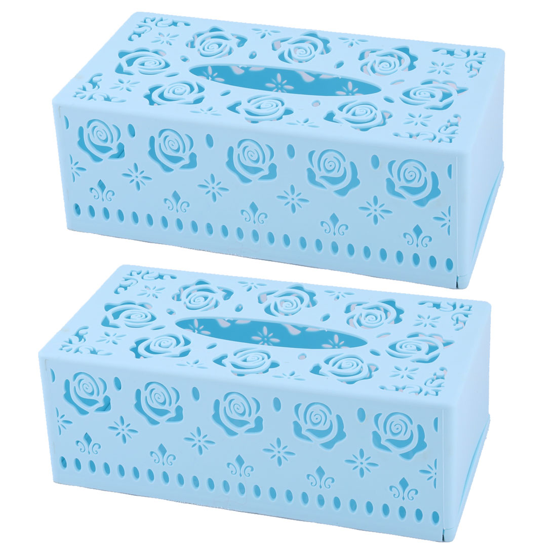 Home Plastic Rectangle Hollow Out Design Tissue Box Case Holder Organizer Sky Blue 2pcs