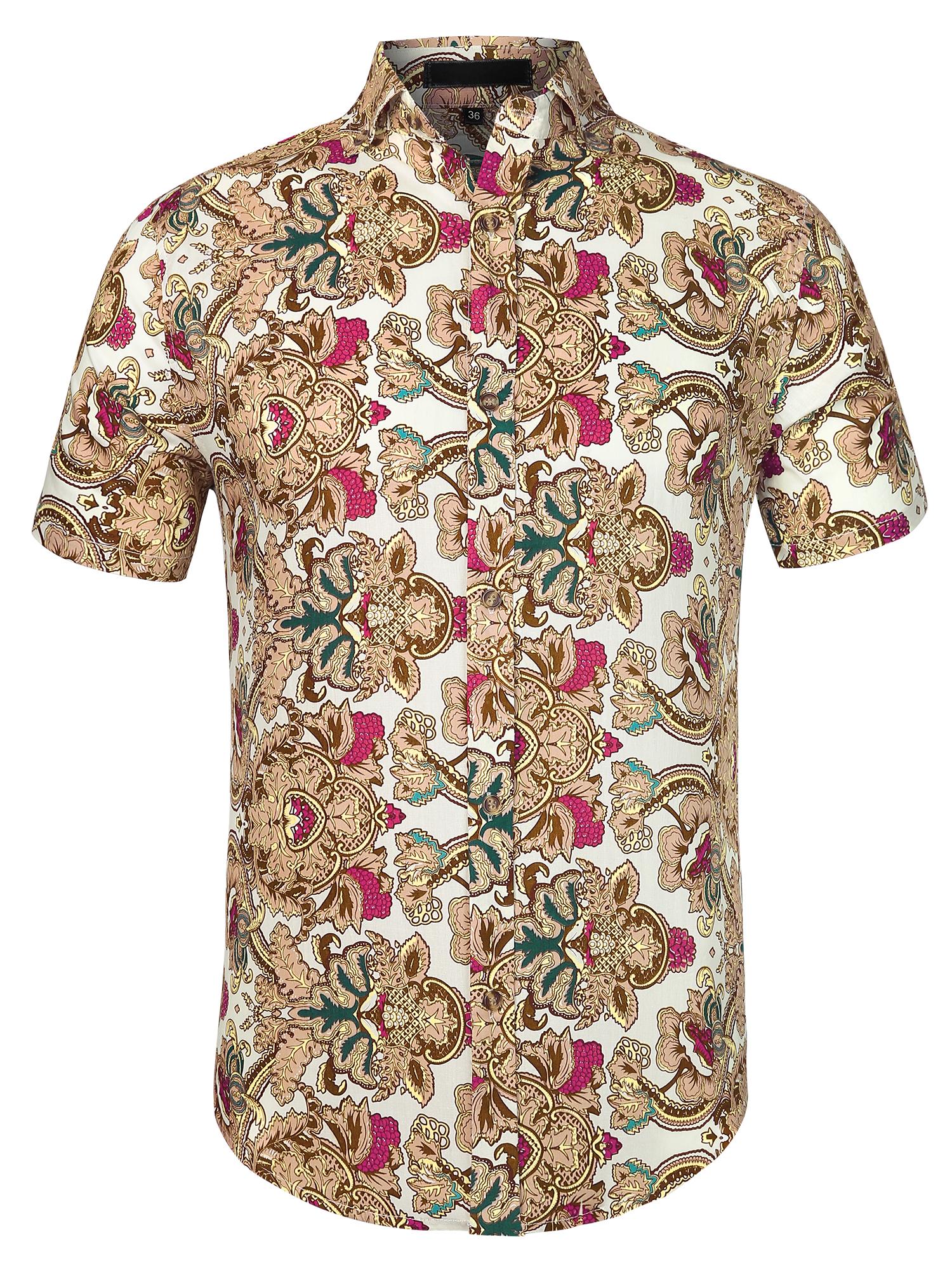 Men Short Sleeve Button Down Flower Pattern Casual Shirt Brown M
