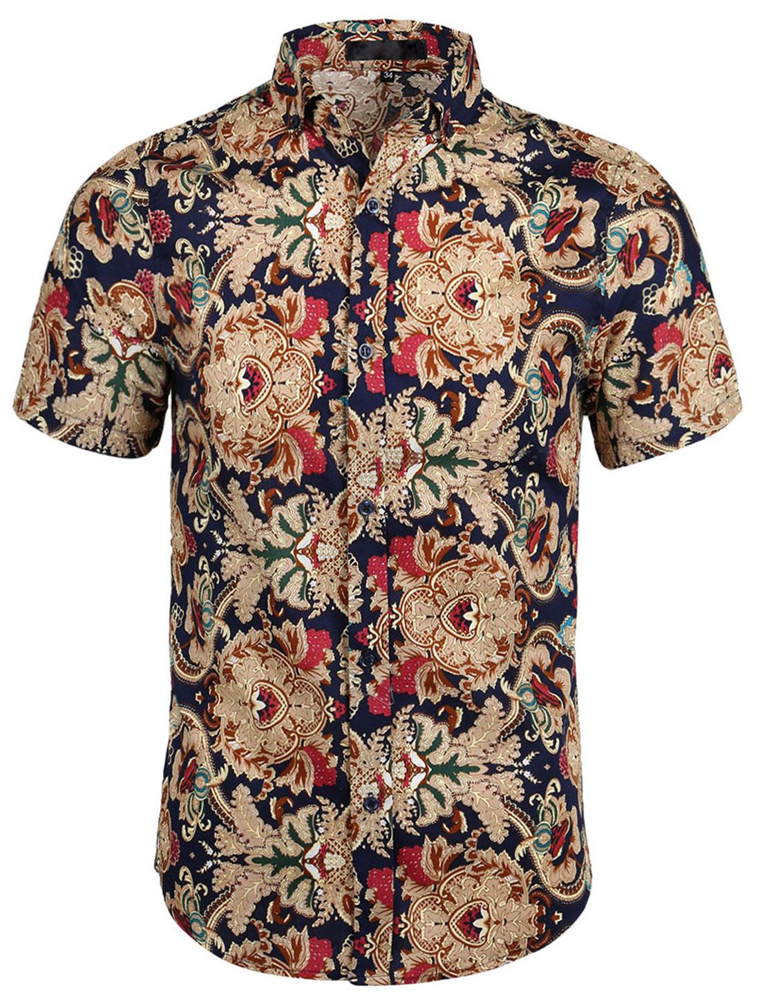Men Short Sleeve Button Down Vintage Print Causal Hawaiian Shirt Navy Camel M