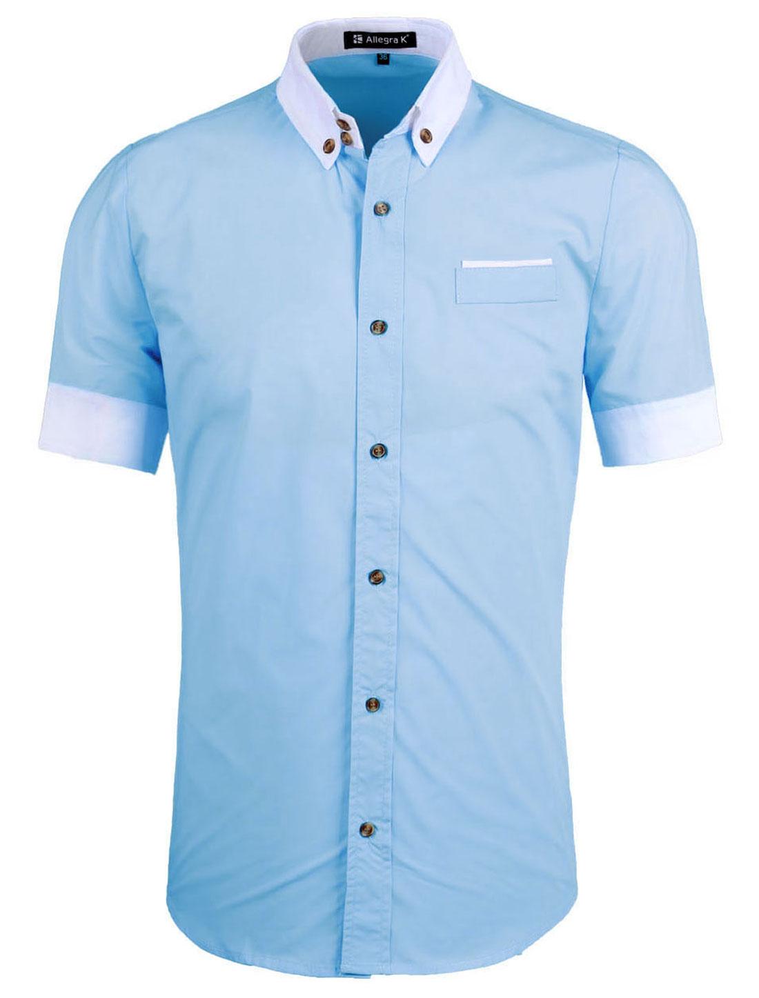 Men Short Sleeve Button Down Round Hem Shirt Top Light Blue M