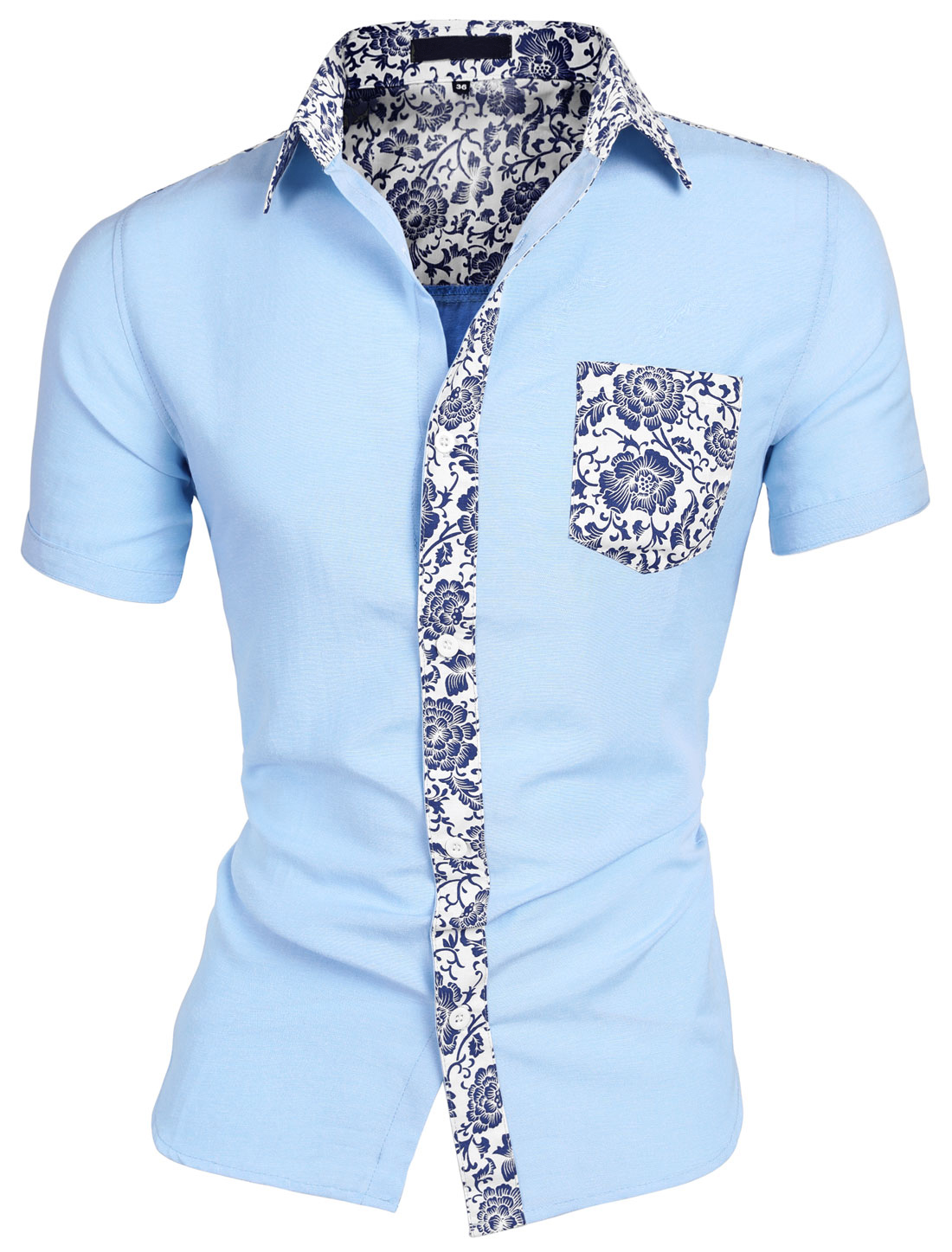 Men Short Sleeves Floral Prints Button-Front Shirt Blue L