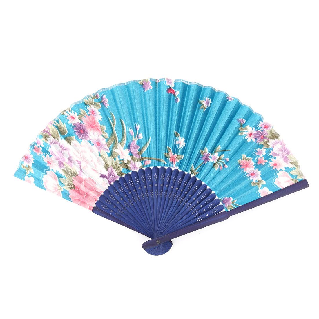 Women Summer Wood Frame Flower Pattern Hand Folding Cooling Fan Multicolor