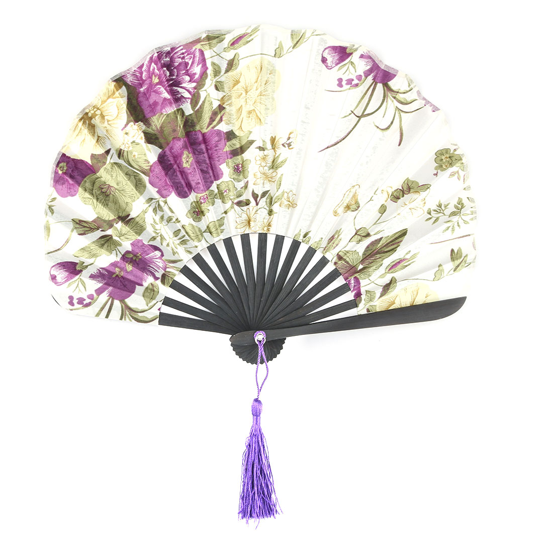 Home Bamboo Flower Pattern Chinese Style Tassel Hanging Decor Folable Hand Fan