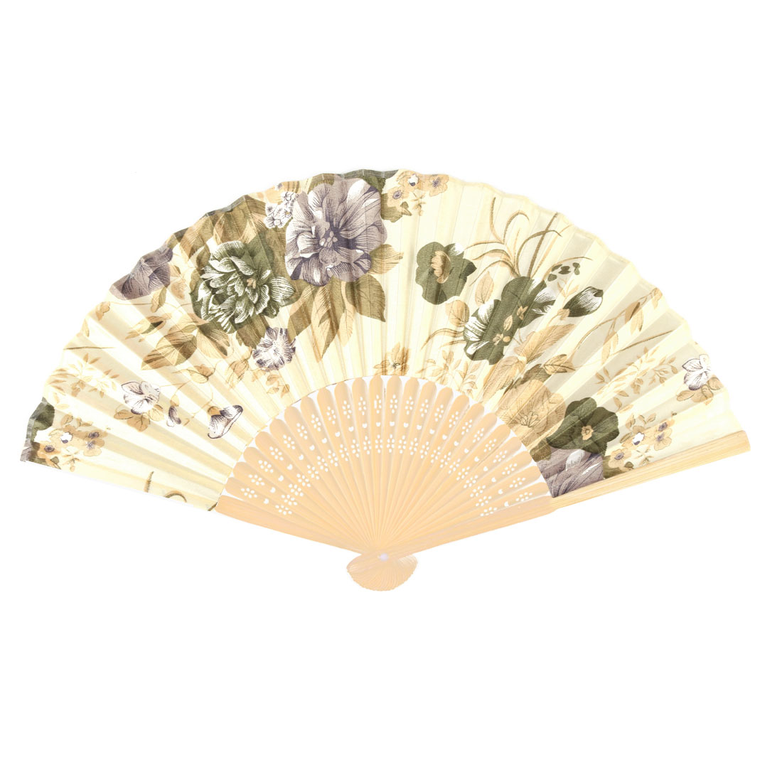 Home Bamboo Frame Flower Pattern Chinese Style Dancing Folding Hand Fan Beige