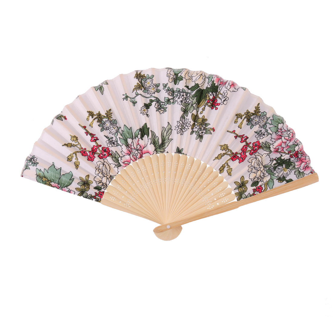 Wedding Party Bamboo Frame Flower Pattern Decorative Folding Dancing Hand Fan Colorful