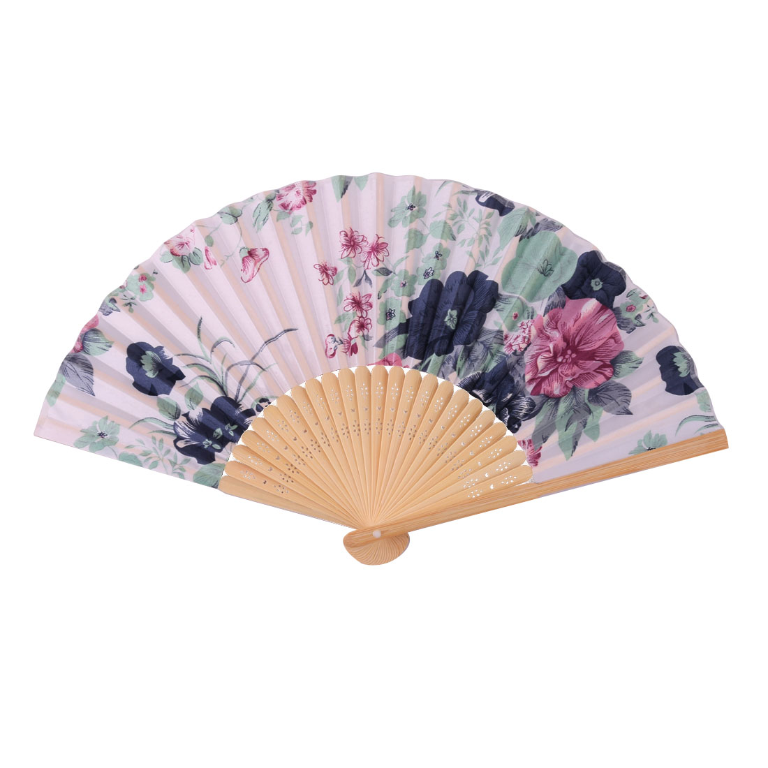 Wedding Party Bamboo Frame Flower Pattern Decorative Folding Dancing Hand Fan Navy Blue