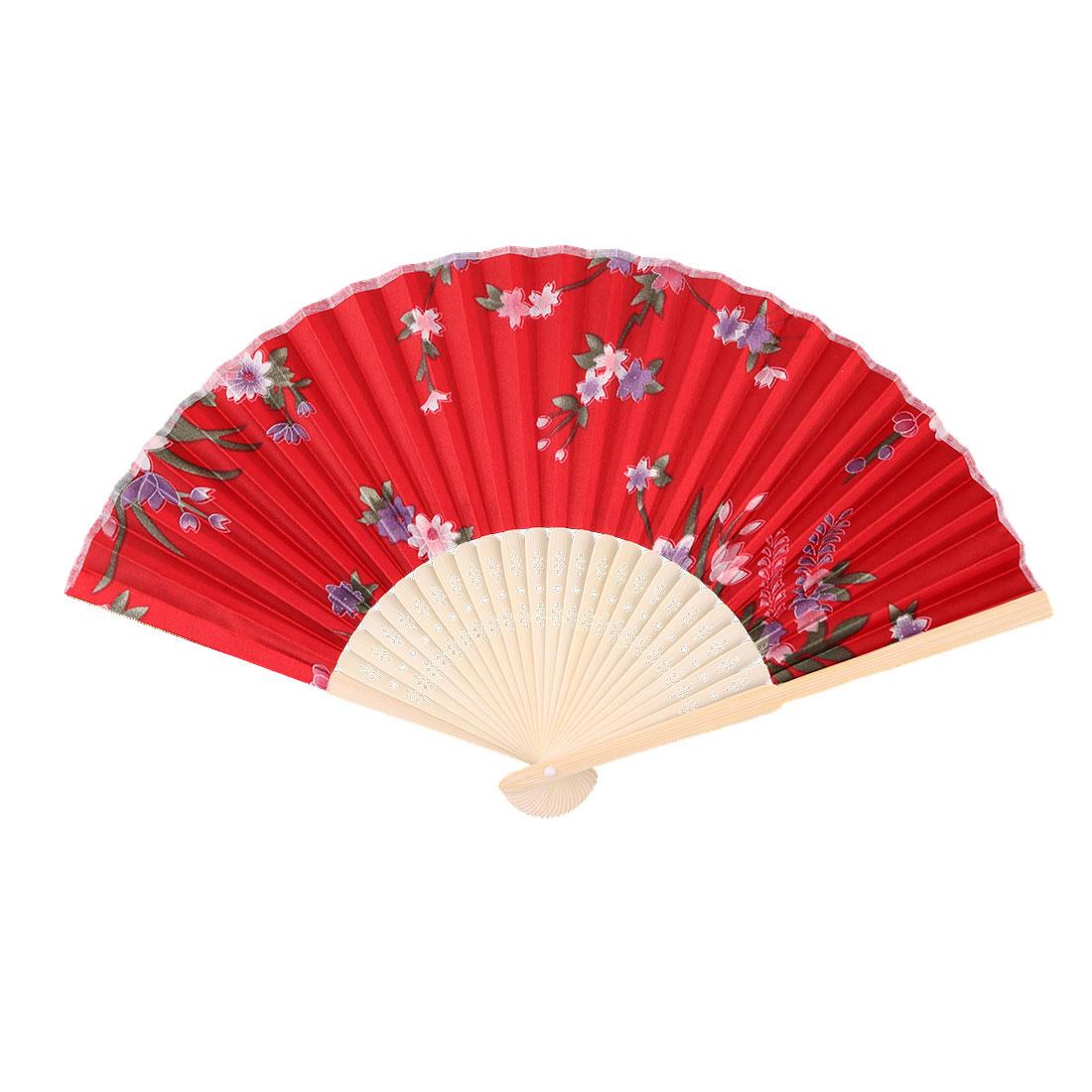 Lady Summer Bamboo Frame Flower Pattern Handmade Craft Folding Dancing Hand Fan