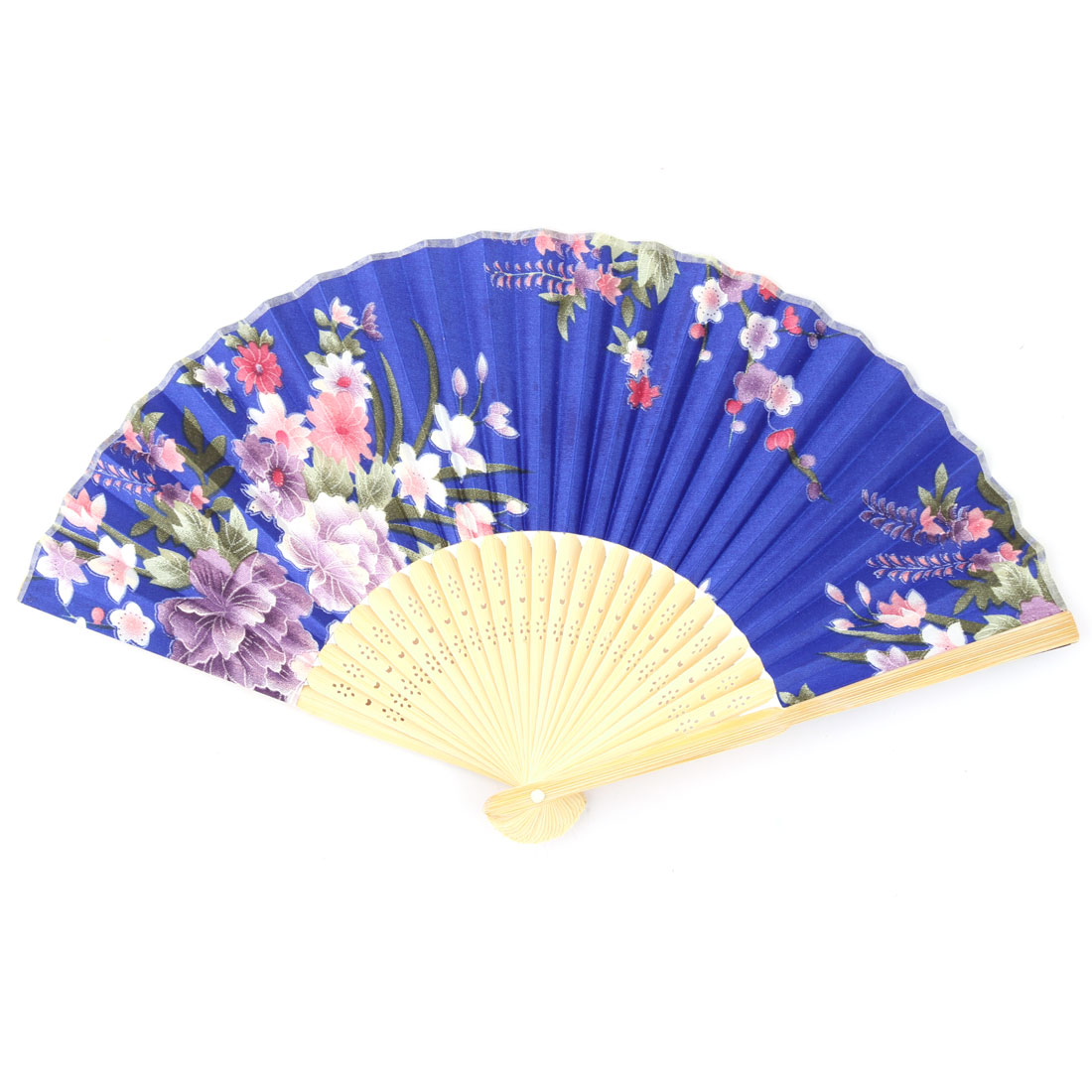 Dormitory Bamboo Frame Flower Print Chinese Style Artistic Folding Hand Fan Royal Blue Beige