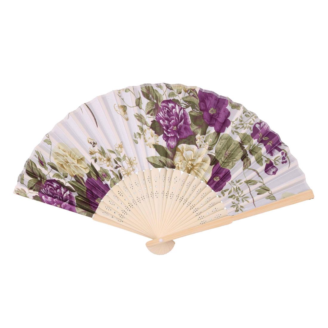 Wedding Party Bamboo Frame Flower Pattern Decorative Folding Dancing Hand Fan Purple