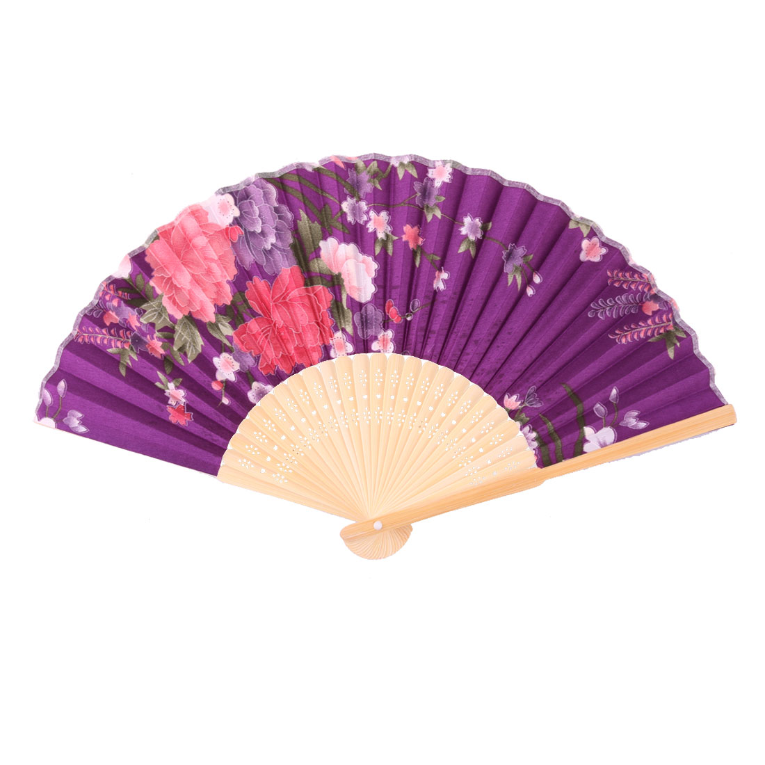 Household Bamboo Frame Floral Printed Retro Style Cooling Hand Fan 21cm Length