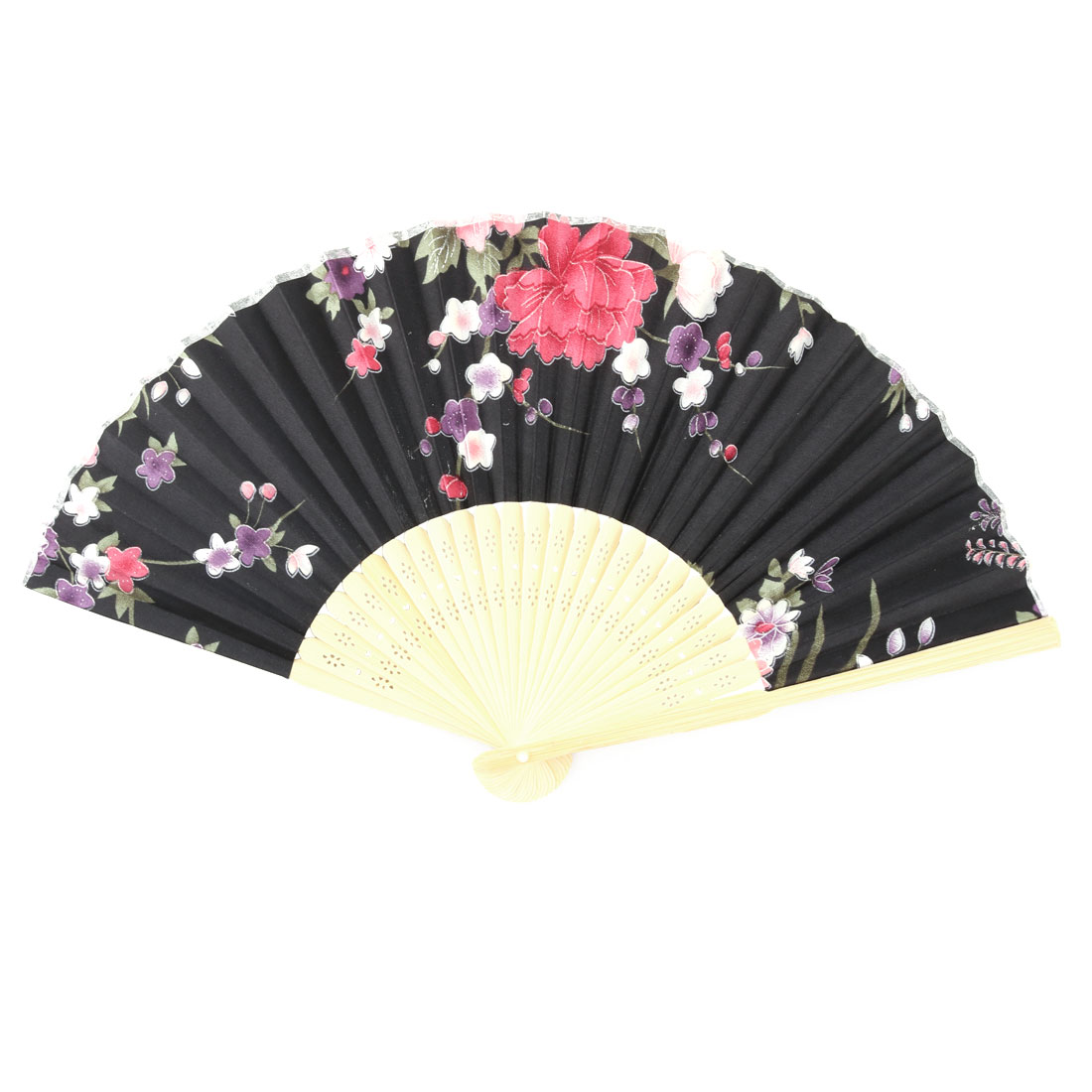 Dance Bamboo Frame Floral Pattern Chinese Style Artistic Handheld Folding Hand Fan Black Beige