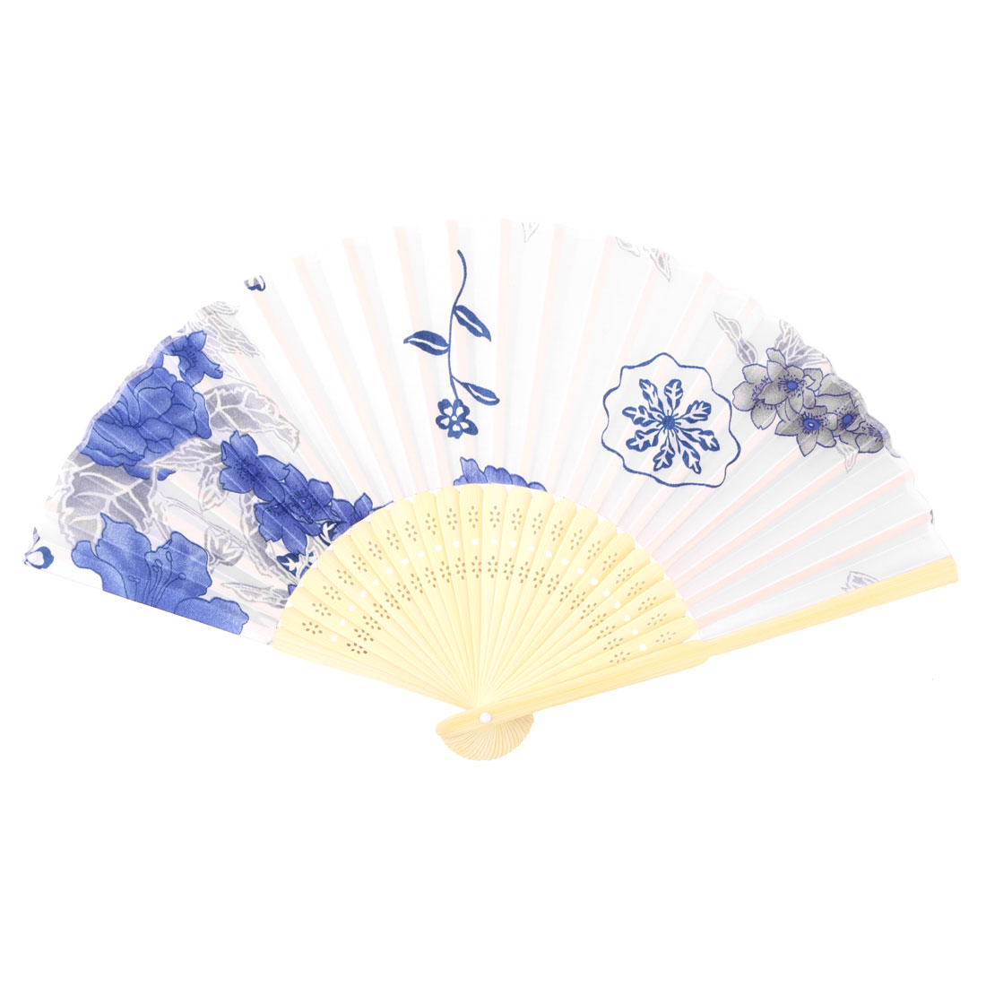 Dancing Bamboo Frame Flower Print Chinese Style Artistic Folding Hand Fan Royal Blue Beige