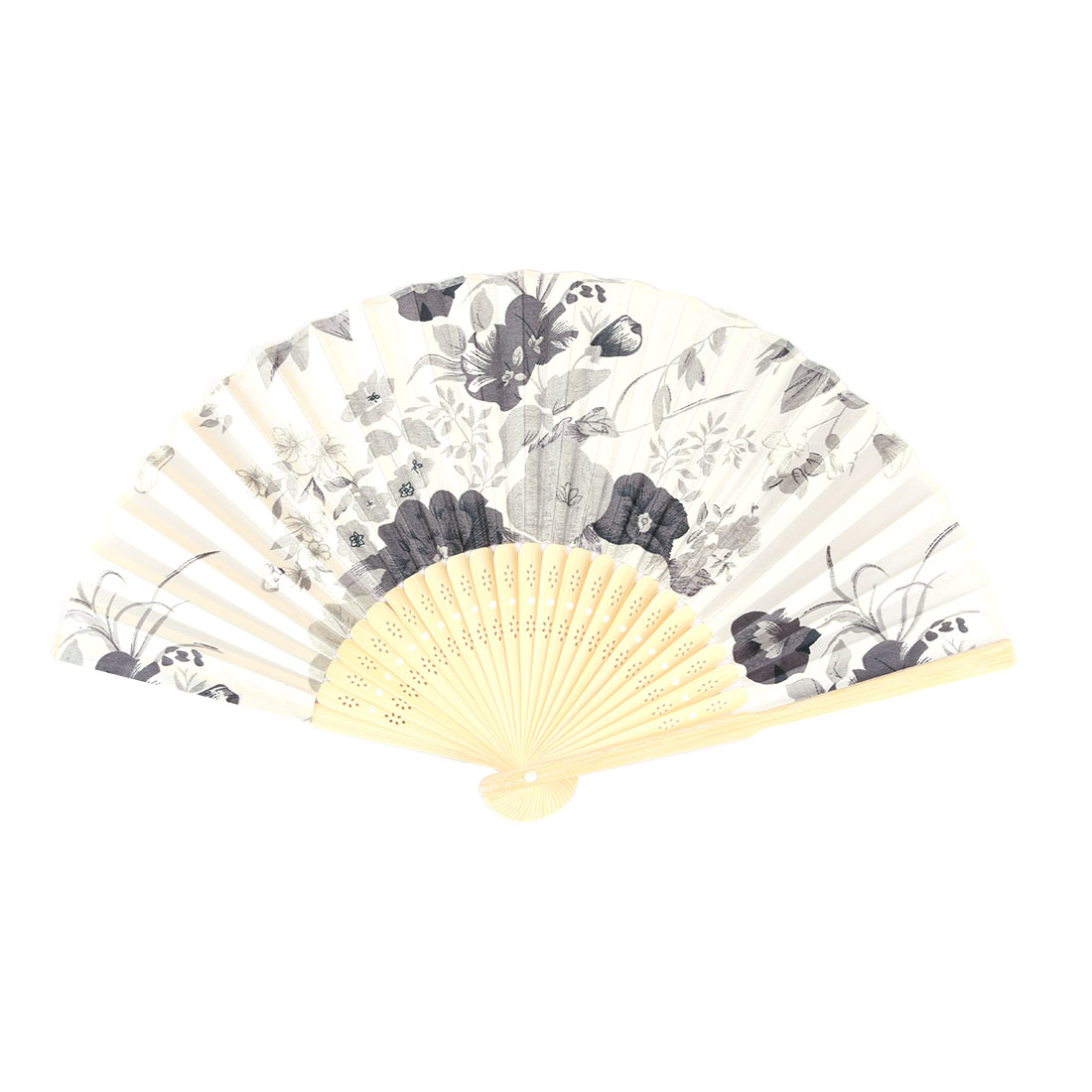 Wedding Party Bamboo Frame Flower Pattern Decorative Folding Dancing Hand Fan Gray