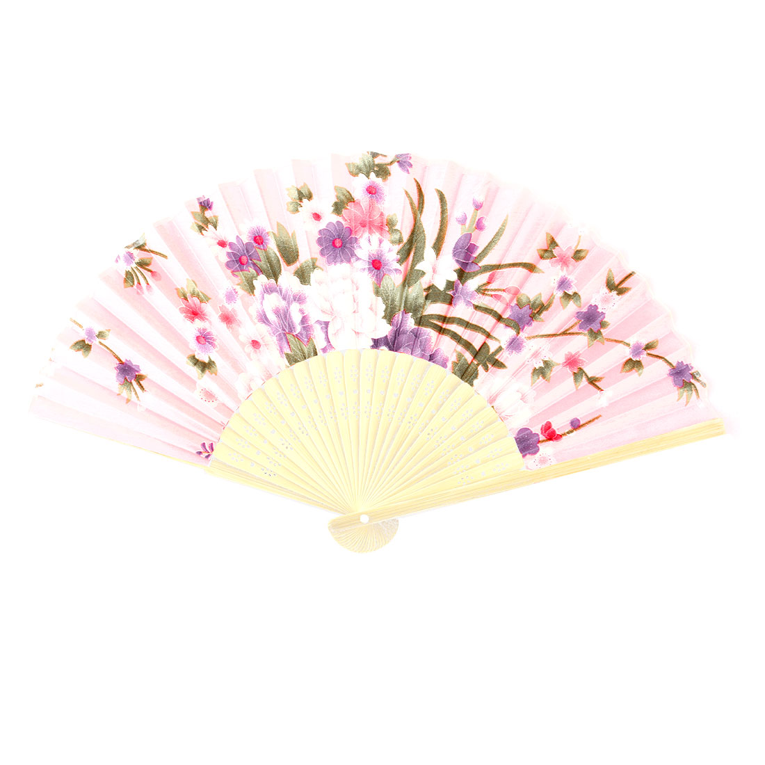 Household Bamboo Frame Flower Pattern Decorative Craft Folding Hand Fan Colorful