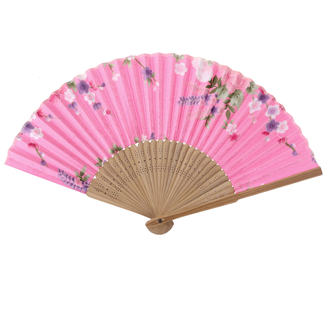 Party Decor Bamboo Frame Flower Print Handheld Folding Cooling Hand Fan Colorful