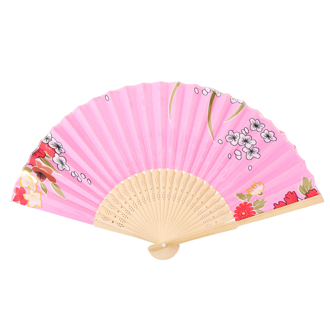 Party Decor Bamboo Frame Flower Pattern Chinese Style Folding Hand Fan Colorful