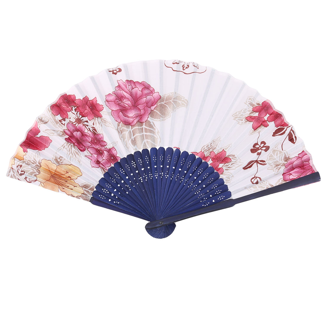 Lady Wedding Bamboo Frame Flower Pattern Folding Cooling Dancing Hand Fan Fuchsia