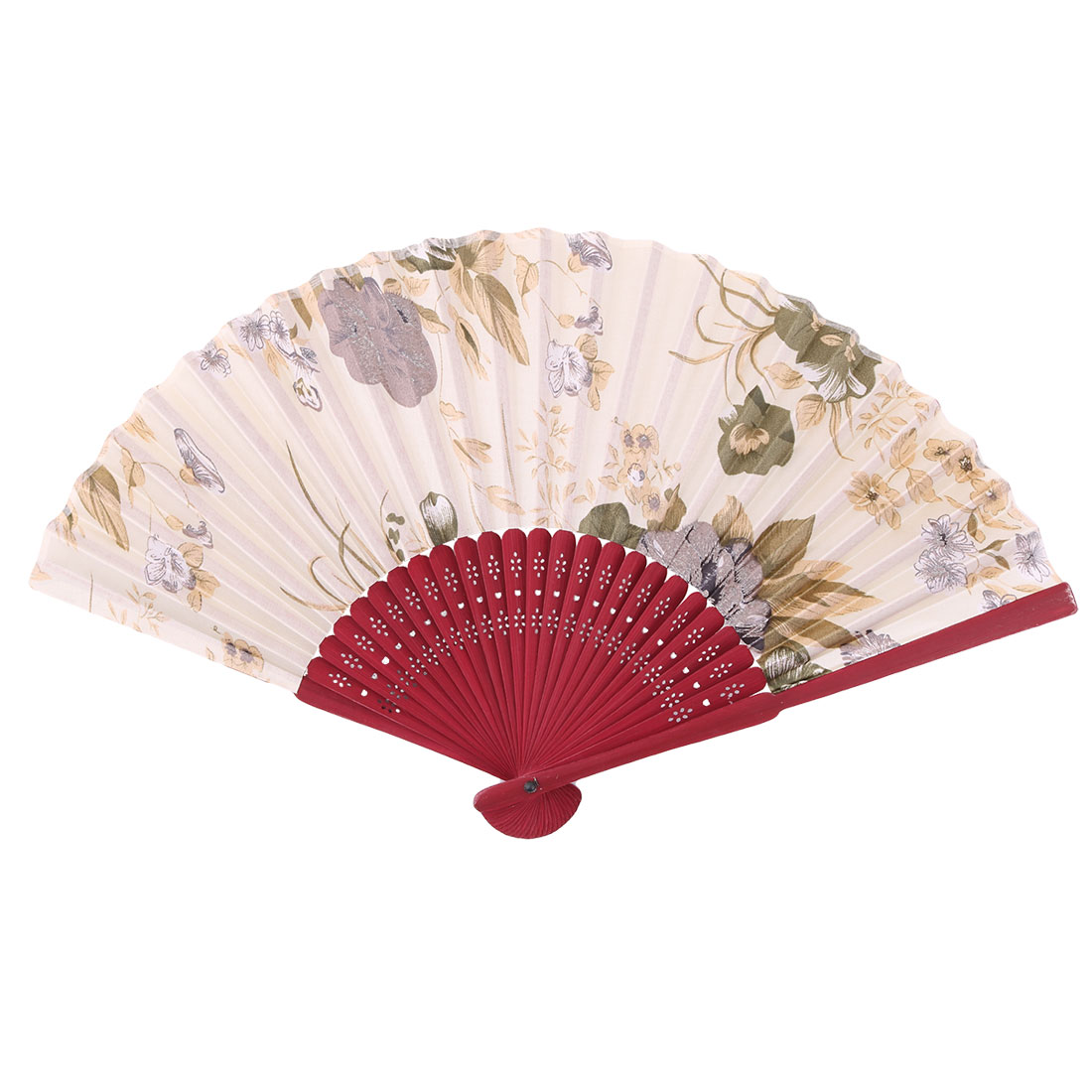 Beach Bamboo Flower Pattern Retro Style Cooling Dancing Hand Fan 21cm Length