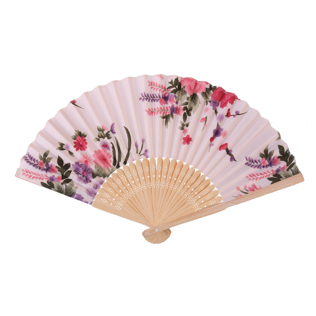 Summer Party Bamboo Frame Flower Pattern Decorative Folding Dancing Hand Fan Colorful