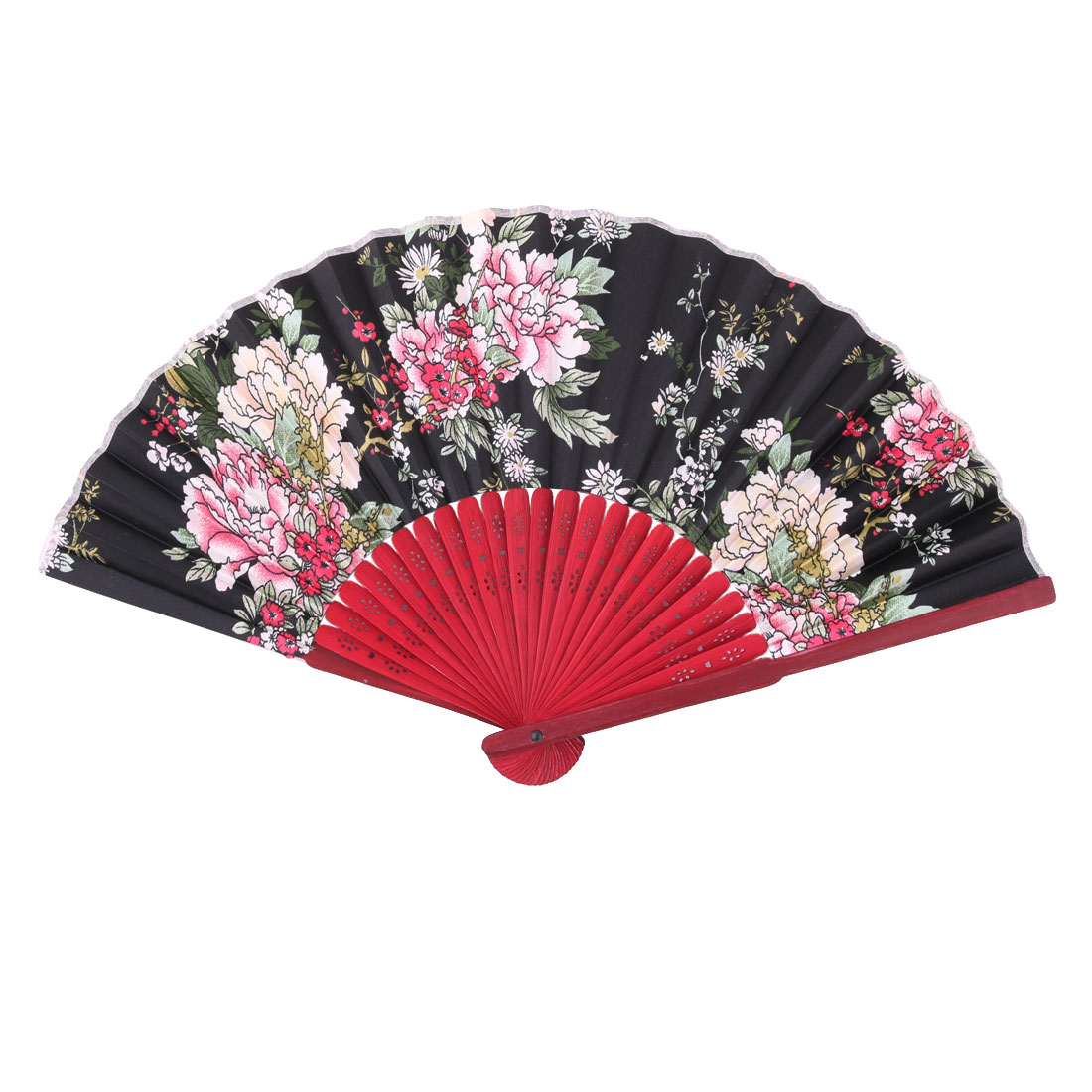 Show Bamboo Frame Floral Pattern Chinese Style Folding Hand Fan 1.2 Inches Width