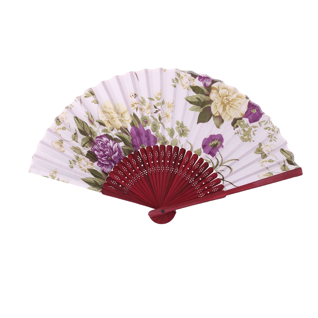 Home Party Bamboo Frame Flower Pattern Handmade Craft Folding Hand Fan Colorful
