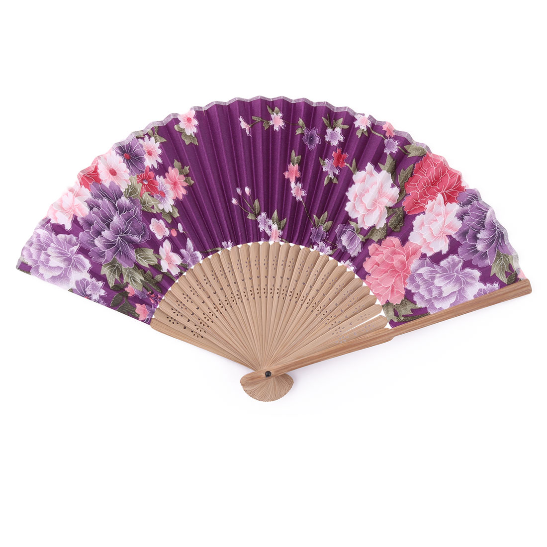 Wedding Bamboo Frame Floral Printed Folding Retro Style Hand Fan 21cm Length
