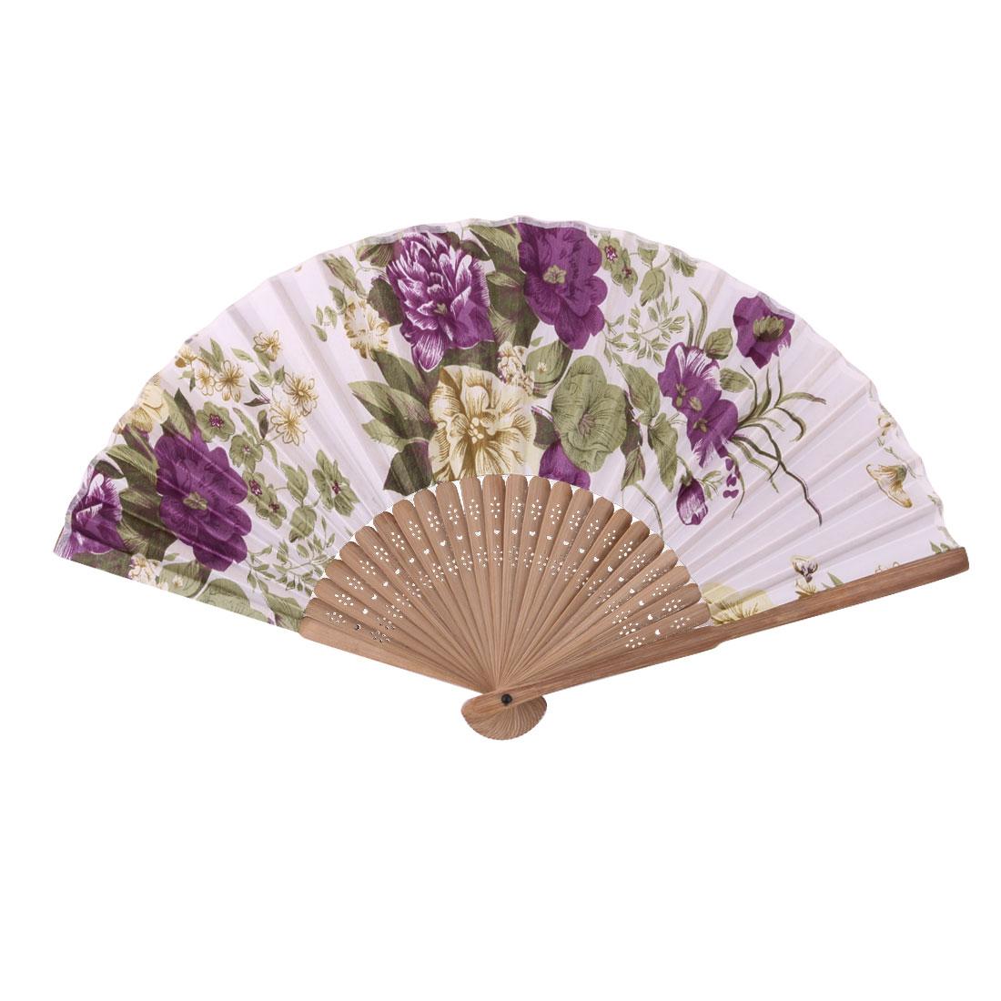 Wedding Party Bamboo Frame Flower Print Decorative Craft Folding Hand Fan Purple