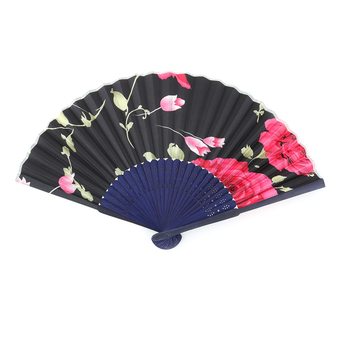 Bamboo Frame Floral Pattern Chinese Style Artistic Summer Folding Hand Fan 1.2 Inches Width