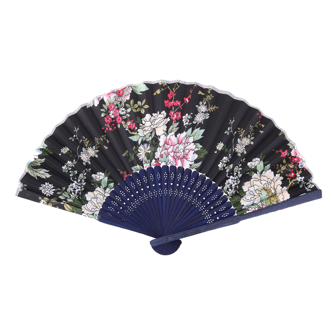 Bamboo Frame Floral Print Chinese Style Artistic Cooling Folding Hand Fan 1.2 Inches Width