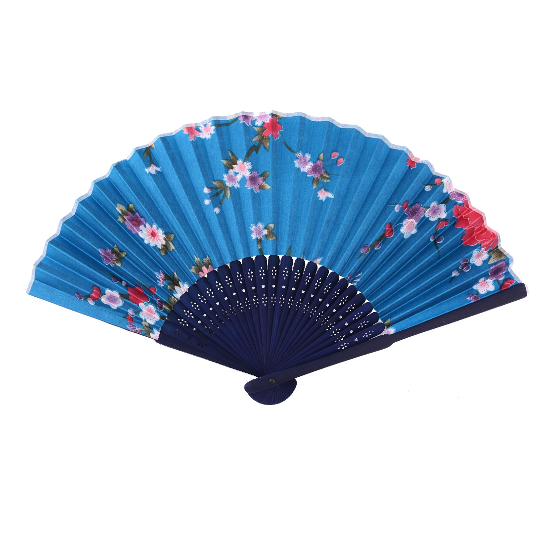 Wedding Polyester Flower Printed Chinese Style Summer Cooling Hand Fan 8.3 Inches Length
