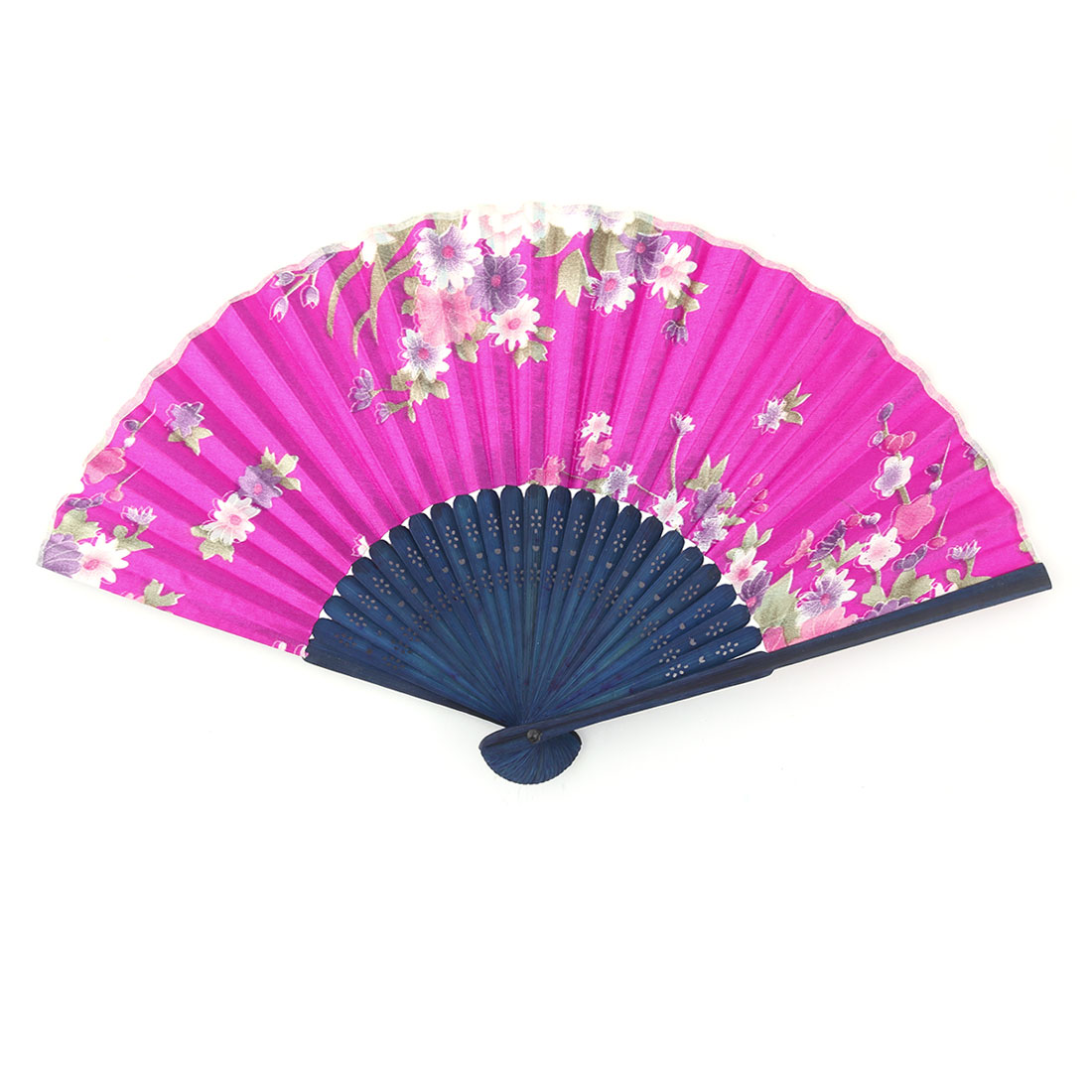 Wedding Bamboo Frame Floral Pattern Folding Retro Style Hand Fan 21cm Length