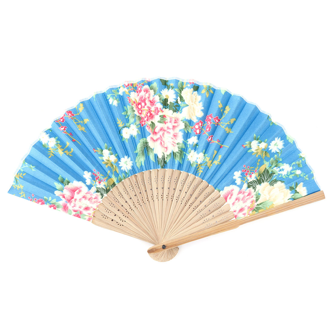 Beach Polyester Flower Printed Chinese Style Summer Cooling Hand Fan 8.3 Inches Length
