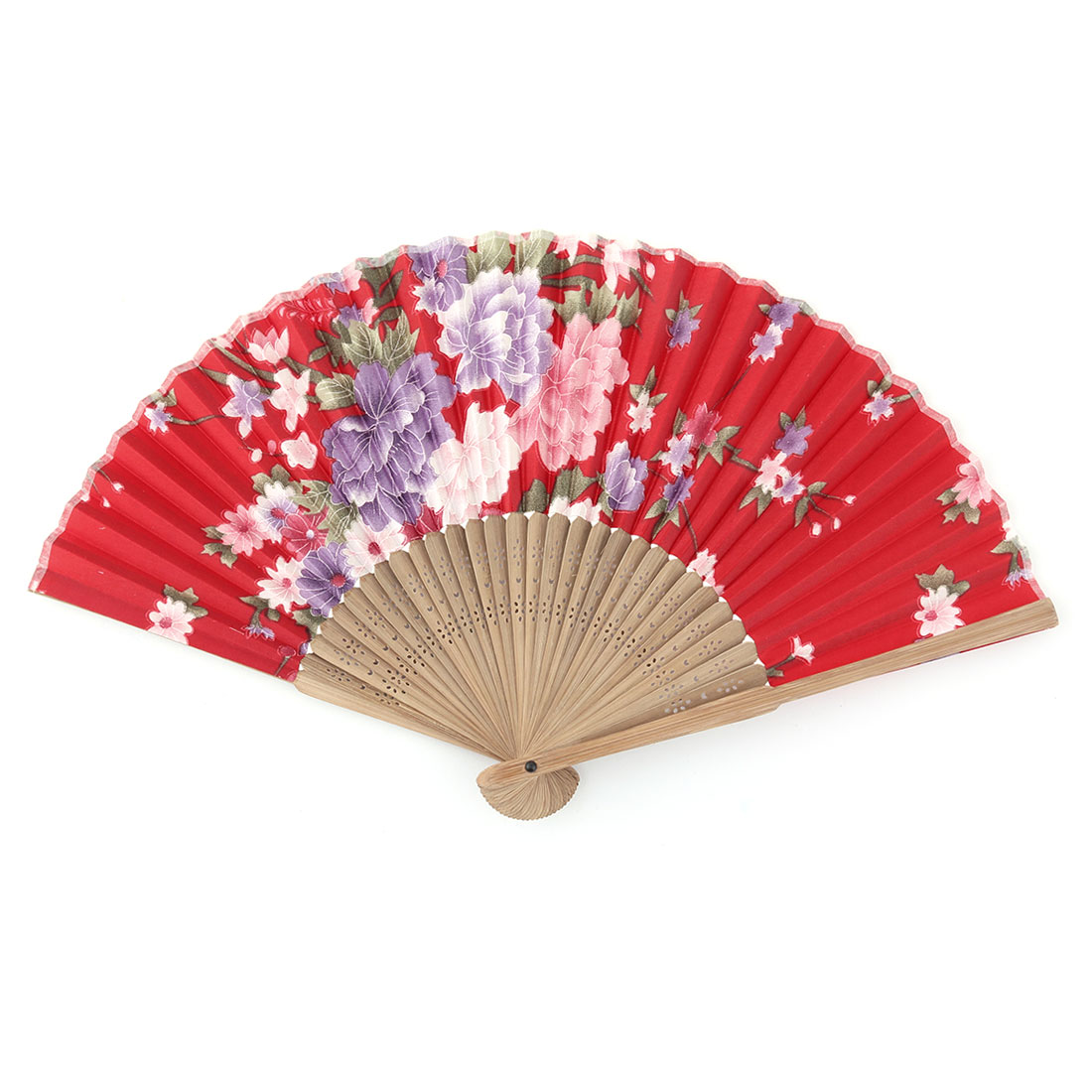 Summer Bamboo Frame Flower Pattern Decor Gift Folding Cooling Hand Fan Colorful