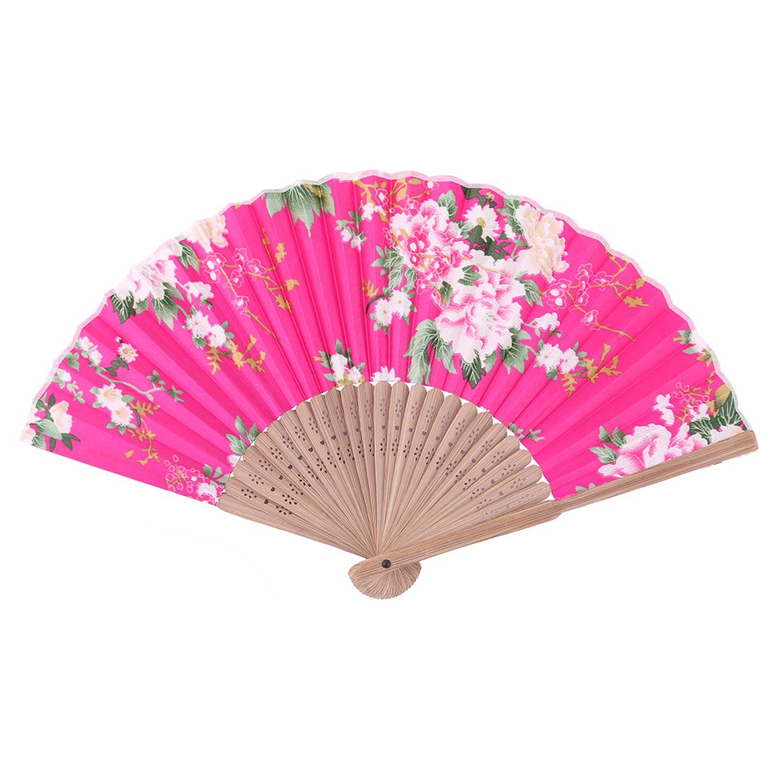 Wedding Bamboo Frame Flower Printed Retro Style Folding Hand Fan 21cm Length
