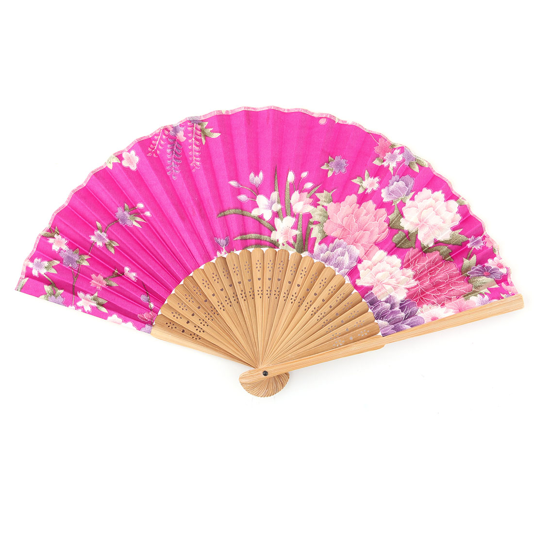 Wedding Bamboo Frame Flower Pattern Retro Style Folding Hand Fan 21cm Length