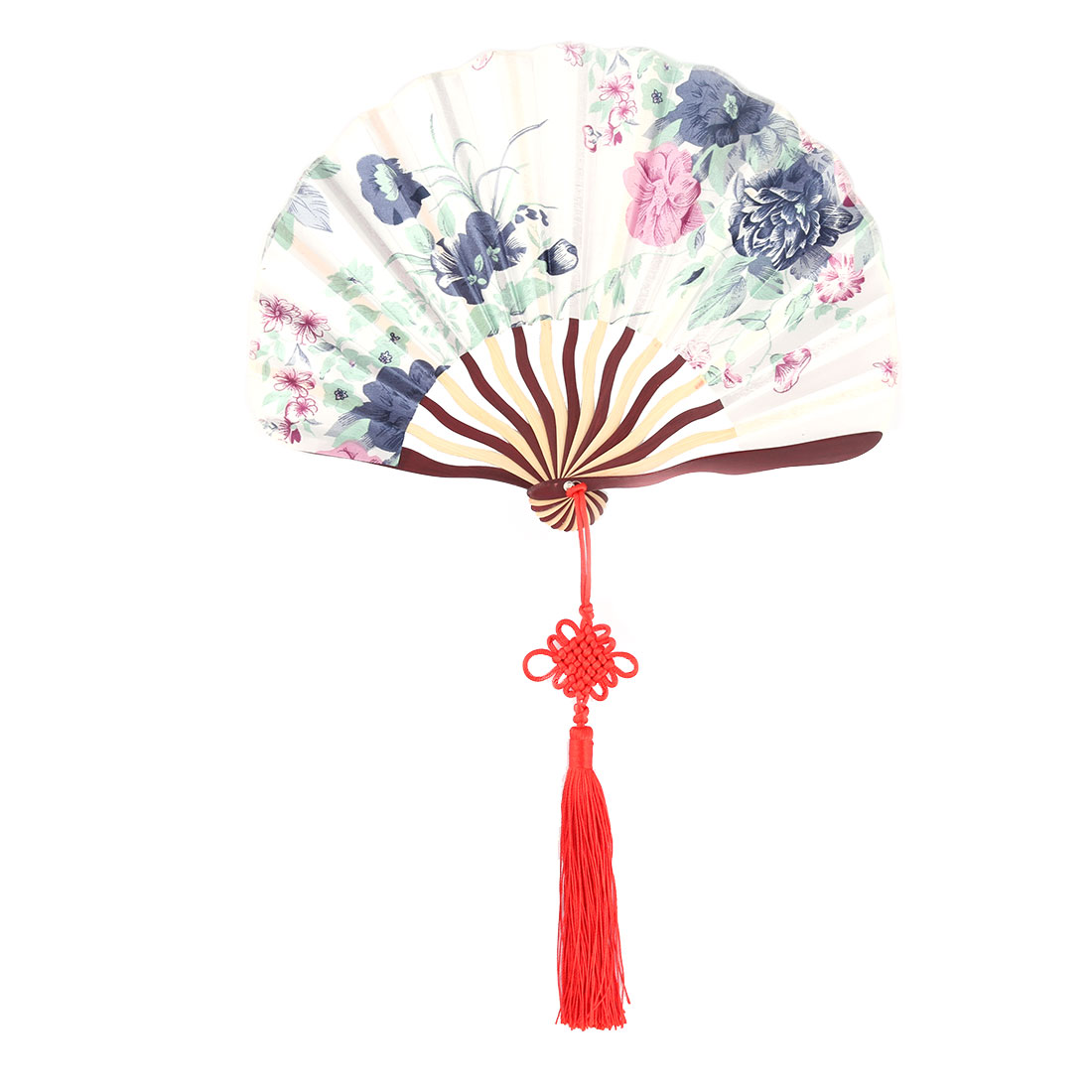 Polyester Floral Pattern Retro Style Chinese Knot Decor Folding Hand Fan 8.7 Inches Length