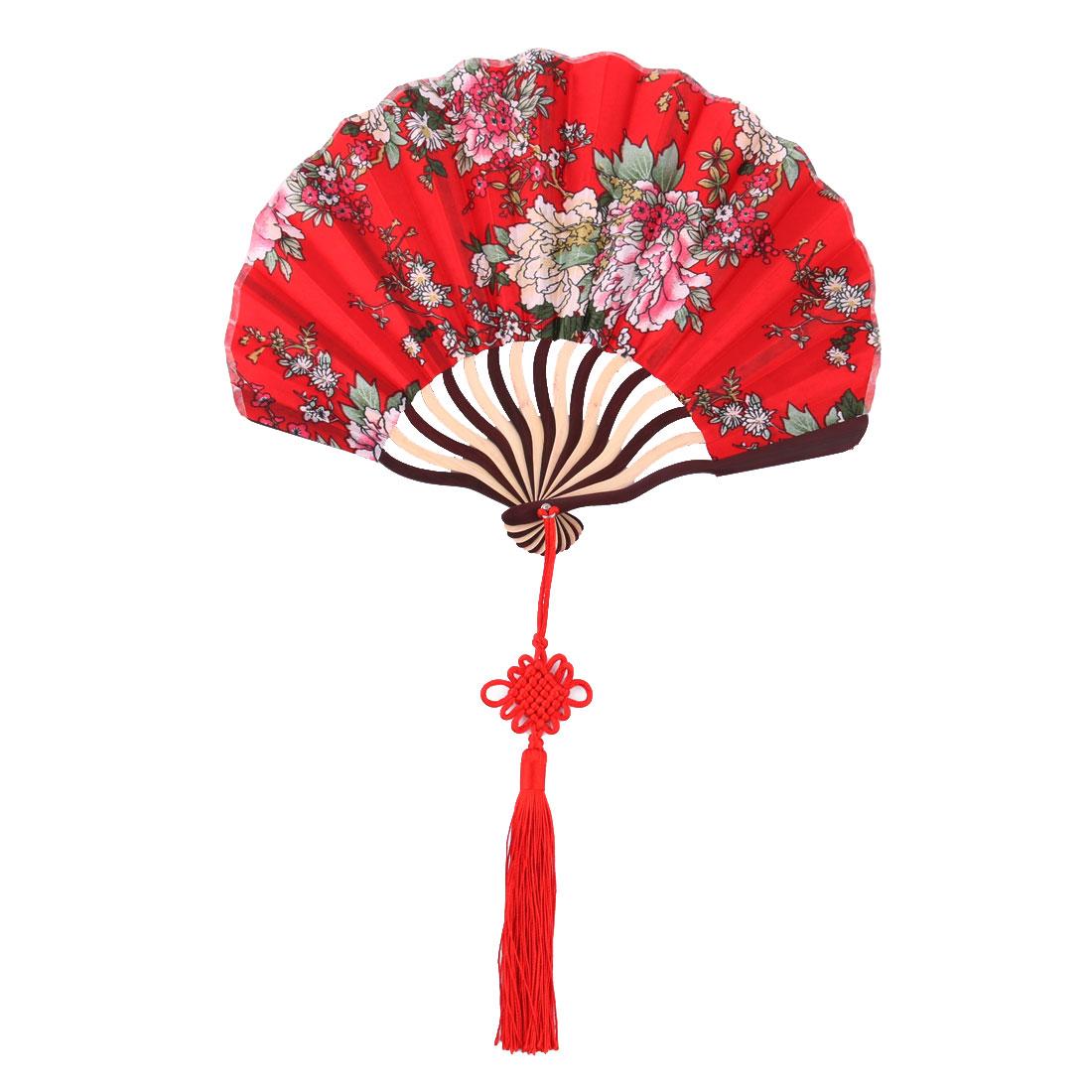 Women Bamboo Frame Flower Pattern Handheld Folding Summer Cooling Dancing Fan Red