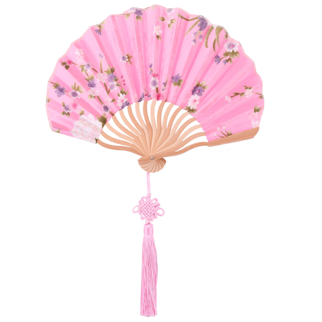 Bamboo Frame Chinese Knot Tassel Pendant Decor Dancing Folding Hand Fan Pink