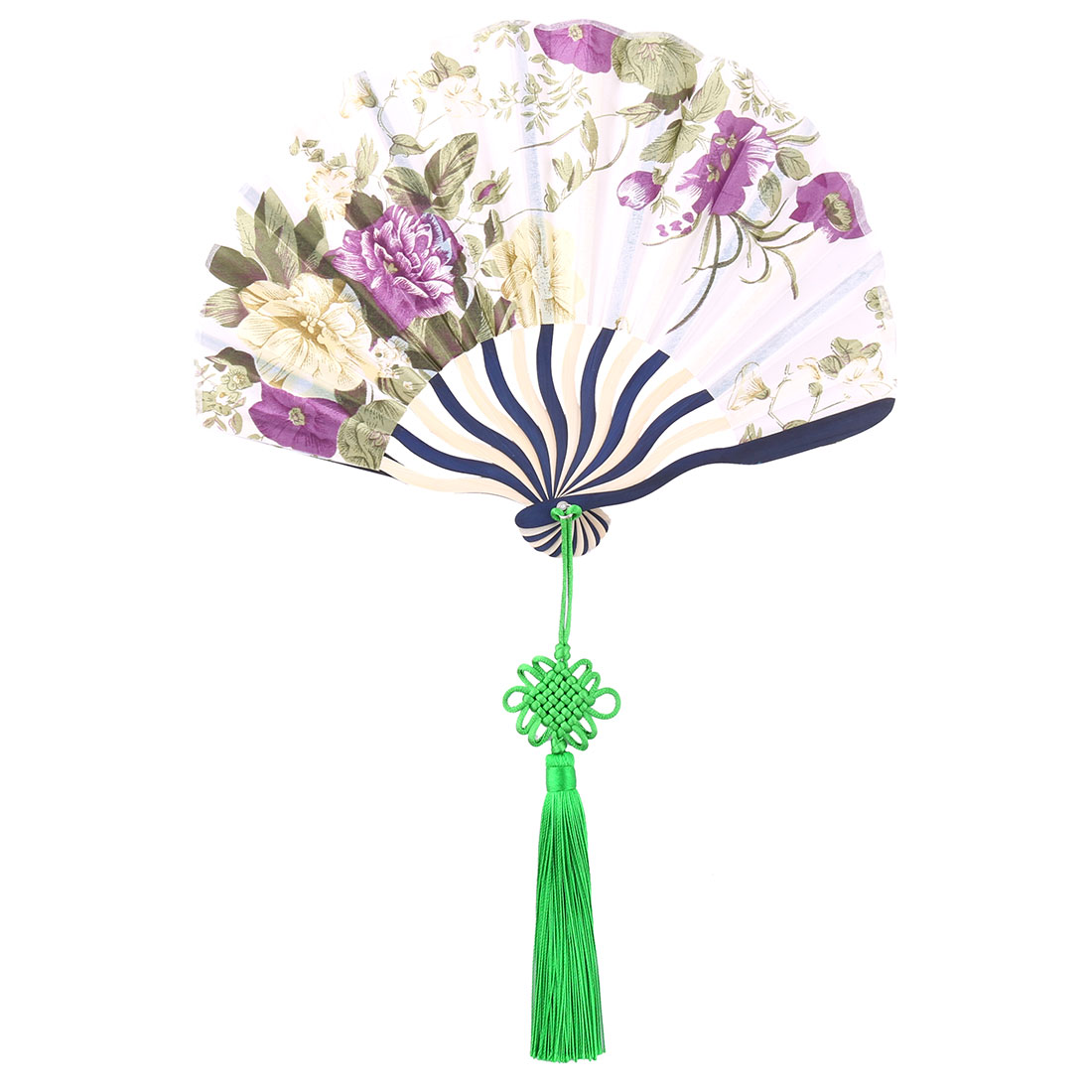 Bamboo Frame Flower Pattern Chinese Knot Tassel Decor Dancing Hand Fan Purple Green