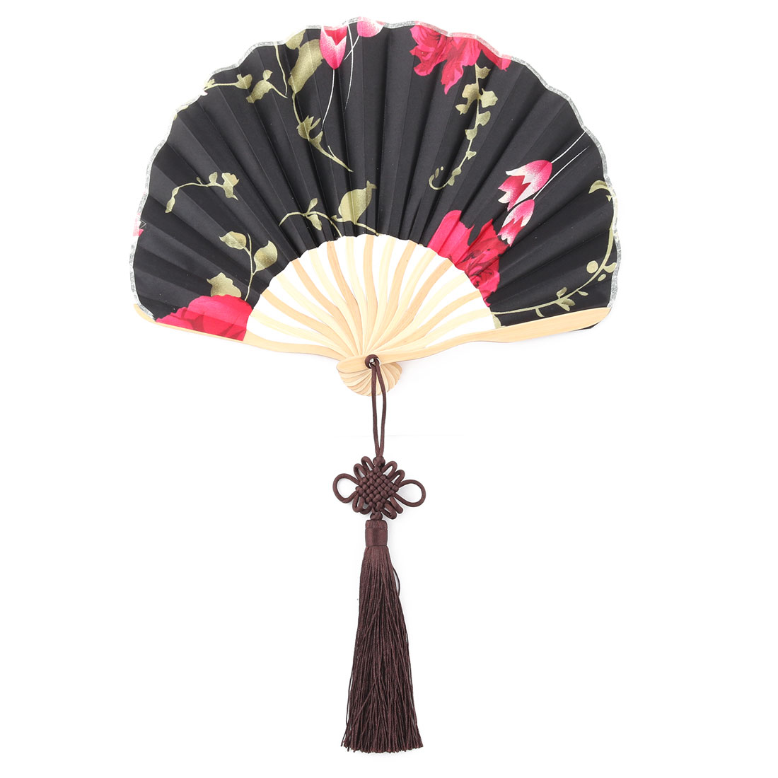 Women Bamboo Frame Flower Pattern Handheld Folding Summer Cooling Dancing Fan Black