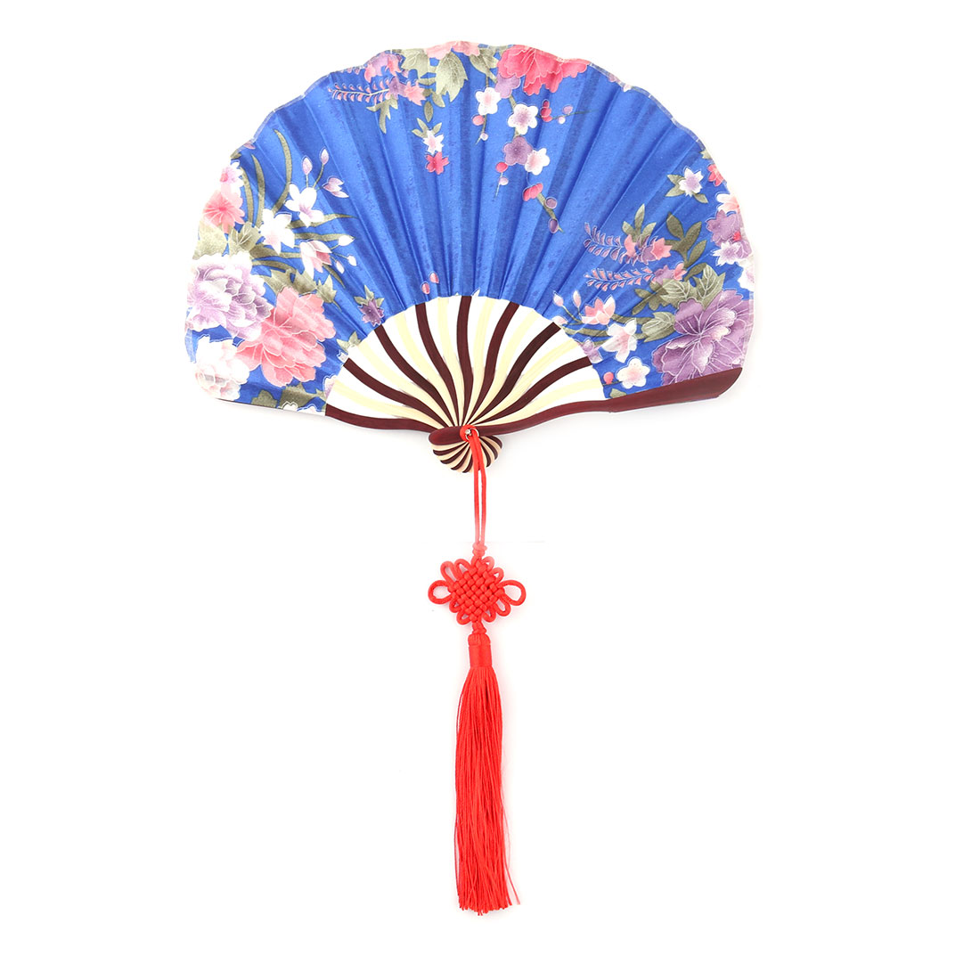 Gift Bamboo Frame Flower Print Chinese Knot Pendant Decor Hand Folding Fan Royal Blue
